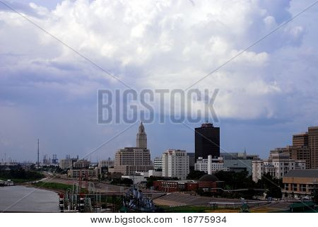 BATON ROUGE, LOUISIANA - AUG 31: Storm clouds of hurricane Gustav move over the Baton Rouge skyline and Mississippi riverfront on August 31, 2008 in Baton Rouge, Louisiana.