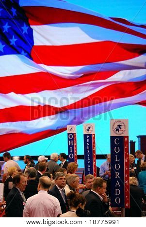 ST PAUL - SEPT 3: Delegates from swing states Ohio, Pennsylvania and Colorado gather inside the Republican National Convention at the Xcel Energy Center on September 3, 2008 in St Paul.