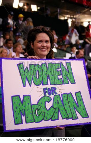"""ST PAUL - SEPT 3: An unidentified supporter of McCain holds a """"Women for McCain"""" sign at the Republican National Convention at the Xcel Energy Center on September 3, 2008 in St Paul, Minnesota."""