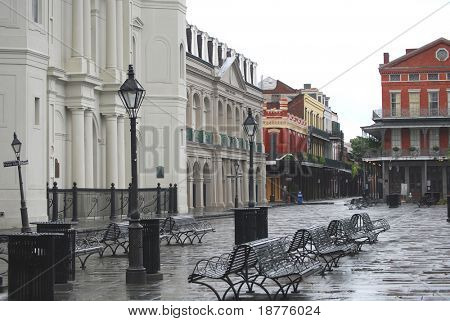 NEW ORLEANS - SEPT 2: Jackson Square in the French Quarter of New Orleans is shown empty during curfew imposed due to Hurricane Gustav on September 2, 2008 in New Orleans.