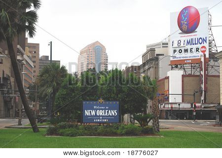 NEW ORLEANS - SEPT 1: A sign welcomes visitors to the deserted downtown of New Orleans during Hurricane Gustav on September 1, 2008.