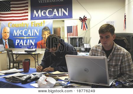 PENSACOLA, FLA - OCT 22: Volunteers at the Veterans for McCain campaign office in Pensacola, Florida, canvassing on October 22, 2008, as election day approaches.