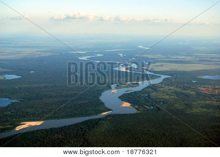 Aerial view of rainforest at the Araguaia River on the border of the states of Mato Grosso and Goiàs in Brazil