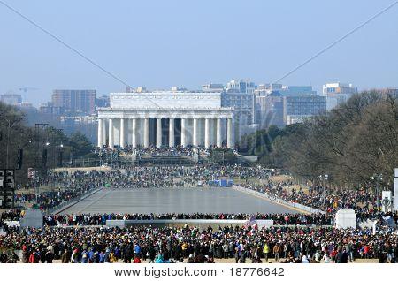 WASHINGTON - JAN 20: Record crowds attend the inauguration of U.S. President Barack Obama on January 20, 2009 in Washington.