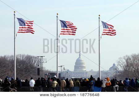 WASHINGTON - JAN 20: U.S. flags fly as spectators attend the inauguration of U.S. President Barack Obama on January 20, 2009 in Washington.