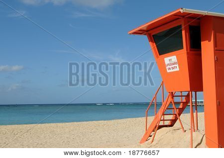 Empty lifeguard post on Waikiki Beach in Honolulu, Hawaii