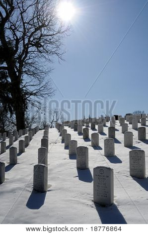 ARLINGTON - March 3: The heaviest winter storm of the year leaves Arlington National Cemetery covered in snow on March 3, 2009.