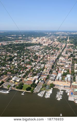 Aerial of downtown Alexandria, Virginia, on the Potomac River, near Washington DC, with a view of King Street leading from Waterfront Park to George Washington Masonic Memorial