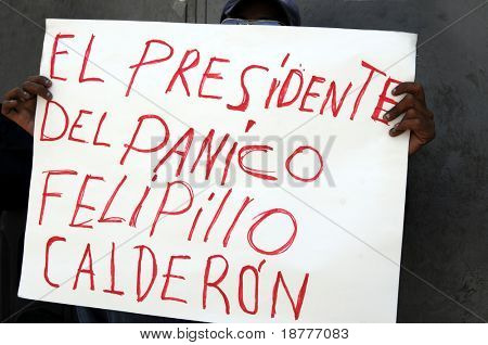 Protester in Mexico City holding hand-written sign blaming Mexican President Felipe Calderon for causing panic with his measures to contain H1N1 swine flu A influenza.