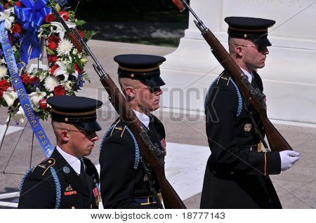 ARLINGTON - MAY 23: The changing of the guards receives special attention at the Arlington National Cemetery in preparation for Memorial day ceremonies on May 23, 2009 in Arlington.