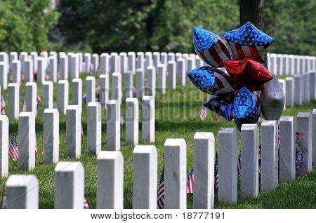 Patriotic balloons at the Arlington National Cemetery in Arlington, Virginia, near Washington DC, on Memorial Day