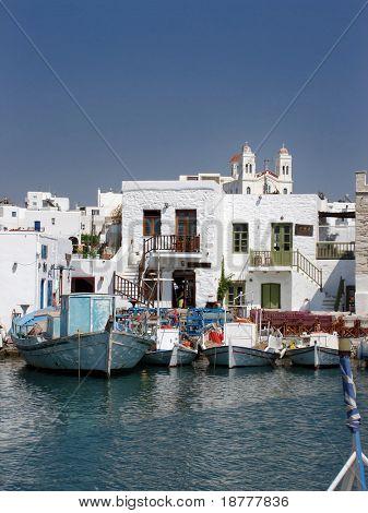 Traditional fishing village in Paros, Greek Islands