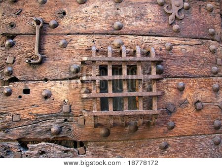 Part of the old prison door of the St Michel prison, Rennes, France