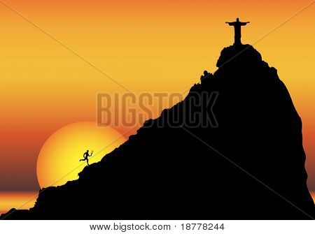 Illustration depicting a runner bringing the torch to Rio de Janeiro, with copy space.