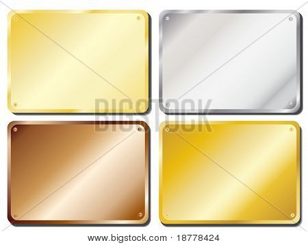 Illustration of metal door plaques in gold, silver, brass and copper with copy space. Also available in vector format.