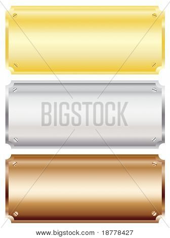 Vector illustration of blank metal wall or door plaques in brass, silver and copper with copy space. Isolated on white background.