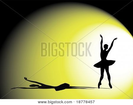 A vector illustration of a ballerina on stage. Silhouette with dramatic shadow and lighting