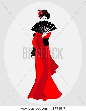 An illustration of a Geisha dressed in red and black