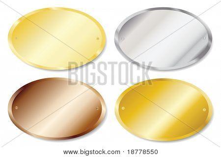 Ilustração em vetor de placas de porta de metal em ouro, prata, latão e cobre com espaço de cópia