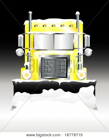 A vector illustration of a snow plough clearing heavy snowfall at night