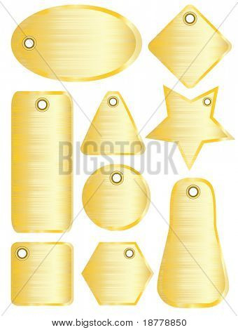 An illustration of brushed metal tags with gold finish