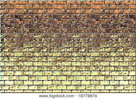 Brick wall with color gradiant
