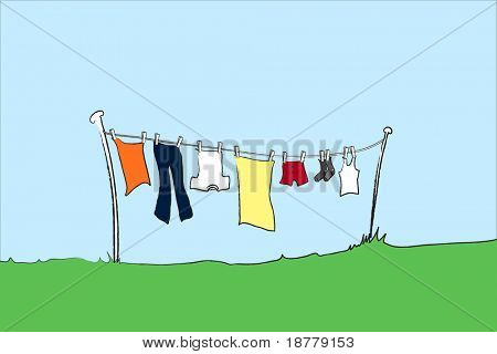 A vector illustration of male clothing hanging out to dry. Space for text