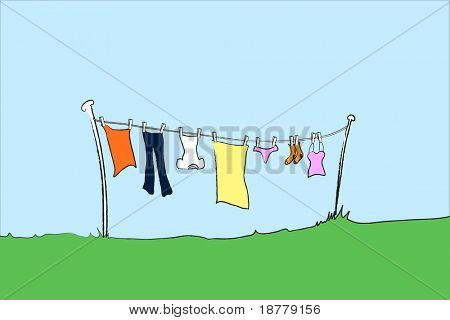 A vector illustration of female clothing hanging out to dry. Space for text.