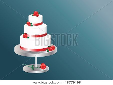 An illustration of a  three tier wedding cake with space for text