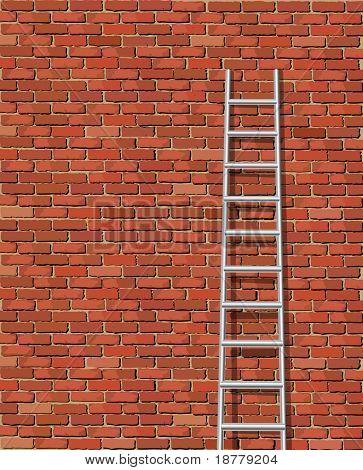 Eine Abbildung einer Leiter gegen und die alte Mauer mit Platz für text