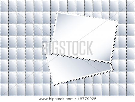 A vector illustration of a sheet of blank postage stamps in with larger stamps creating an area for text