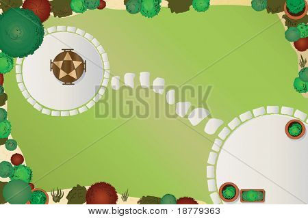 An illustration of a garden layout. Aerial view. See portfolio for vector version