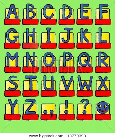 A complete alphabet of capital letters plus punctuation marks. Bright colours sketch style