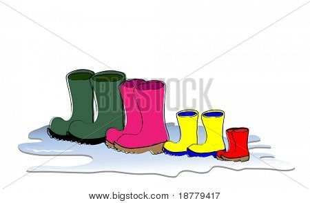 A row of Wellington boots drying. Family sizes, father, mother, child and baby. Vector format.