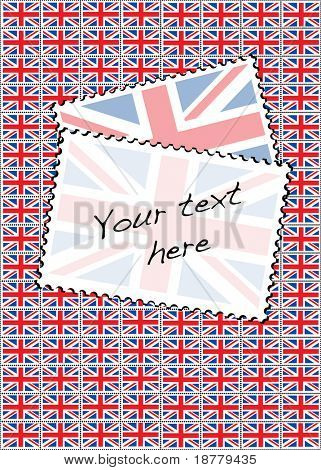 A vector illustration of a sheet of stamps with the Union Jack flag. Space for your text.