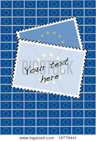 A vector illustration of a sheet of stamps with the European Union flag. Space for your text.
