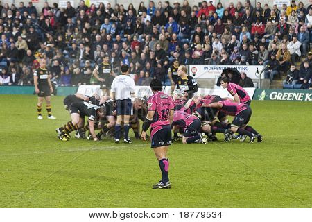 LONDON - May 1: New Zealand player Casey Laulala, Cardiff Blues Centre, watches the scrum, Semi Finals of the Amlin Challenge Cup against the London Wasps.  Laulala has been capped for the All Blacks