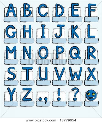 A complete alphabet of capital letters plus punctuation marks. Shades of blue, sketch style. Also available in vector format in my portfolio.