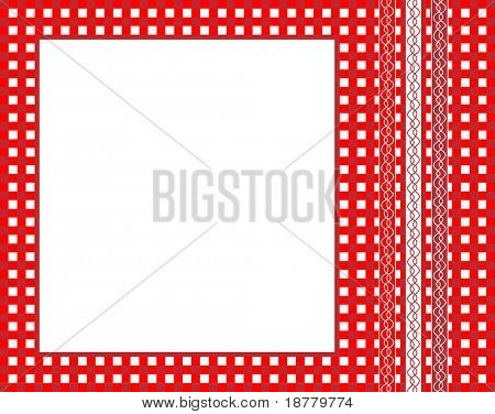 An illustration of a red gingham fabric frame with ribbons.