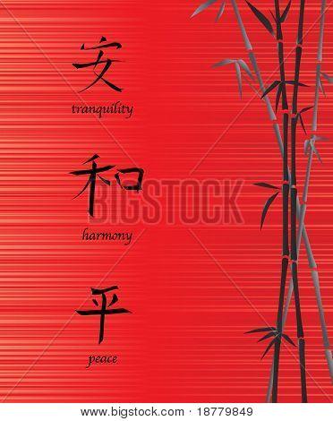 Una ilustración de símbolos chinos de tranquilidad, armonía y paz. Sobre fondo rojo de seda con b