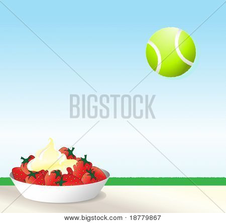 An illustration of strawberries and cream with a tennis ball against blue sky. Wimbledon concept with space for text.
