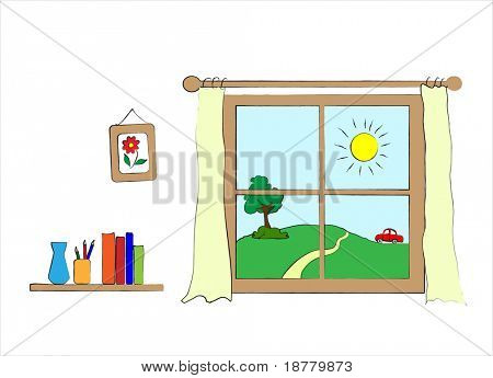 A children's style drawing of a wall with window to the outside.