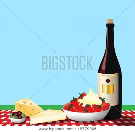 Una ilustración que representa a un picnic en un mantel de algodón a cuadros. Espacio para texto.