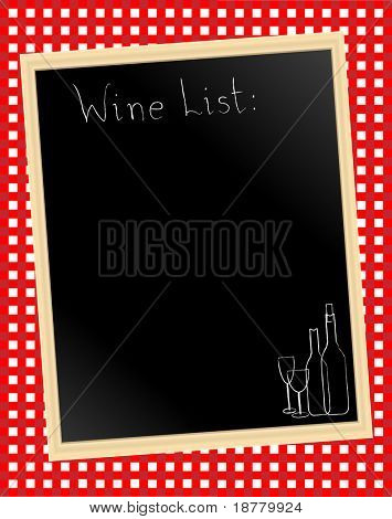 An illustration of a wine list chalkboard on gingham background.