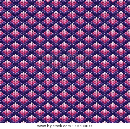 A vector illustration of beadwork in shades of pink and purple. Ethnic design.