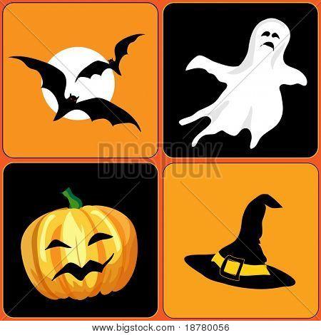 An illustration of Halloween elements