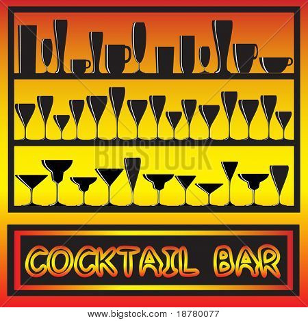 A vector illustration for a cocktail bar poster with glass silhouettes