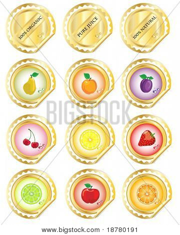 A set of stickers for fruit juices or jams. EPS 10