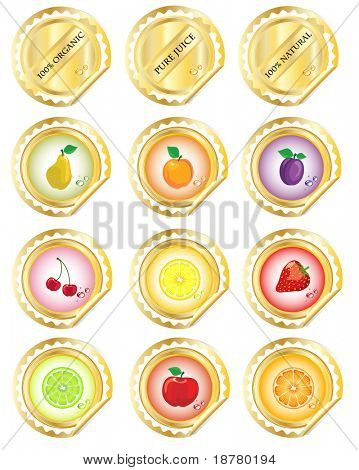 A set of stickers for fruit juices or jams.