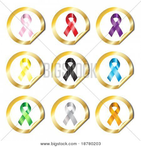 Gold stickers with awareness ribbons in various colours. EPS10